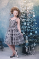 Ooh La La Couture Candy Castle Silver Beaded Girls Dress