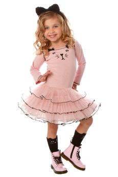 Ooh La La Couture Long Sleeve Fall 18 Pink Kitty Tutu Dress  2T 4T 6