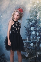 Ooh La La Couture Gorgeous Black & Silver Stars Girls Dress 12 Last 1