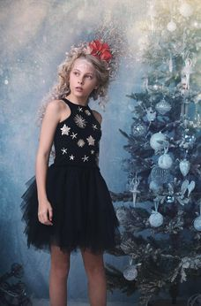 Ooh La La Couture Gorgeous Black & Silver Stars Girls Dress 12 14