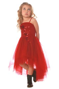 Ooh La La CoutureHi Lo Red Kylee Dress w/Roses  5 6 8 12