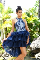 Ooh La La Couture Daddy Daughter Dance Navy Tween Hi Lo Dress 14