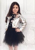 Ooh La La Couture Silver Metallic Girls Moto Jacket