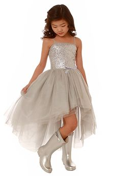 Ooh La La Couture  Silver Sparkly Hi Lo Kylee Dress 4t 5 6
