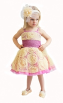 Ooh La La Couture Yellow & Lavender  Wow Pouff  Dress w/Rosettes 2T *Top Seller*