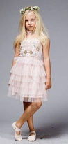 Petit Adele Blush Pink Tulle Vintage Flowers Beaded Girls Dress