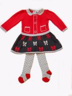 Petit Lem Holiday Girl Sweet Infant Girl Knit Dress & Tights 9m