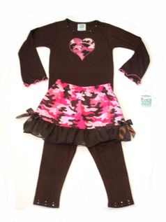 Pickle Juice, USA 3pc Brown and Pink Camo Top/Skirt/Leggings Set 3T