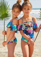 PilyQ Kids 1pc Ruffle Cold Shoulder Super Cute Girls Swimsuit *Top Seller*