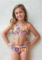 Pily Q Stunning 2pc Crochet Look Fringe Swimsuit 6 LAST 1