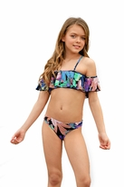PilyQ Super 2pc Ruffle Floral Cold Shoulder Girls Swimsuit 6 8