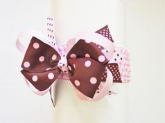 Pink and Brown Polka Dot Headband w/Removable Bow