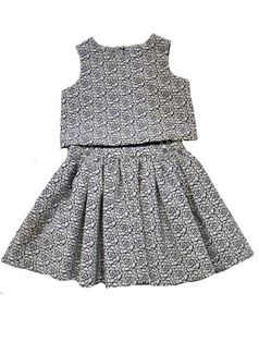 Pippa & Julie 2pc Little Girls Top & Skirt Set in Navy/White 4 6x