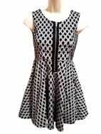 Pippa & Julie Black & Grey Print Zipper Front Tween Dress  7 8