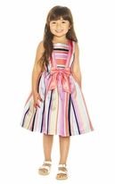 Pippa & Julie  Colorful Striped little Girls  Dress  2T 4 5