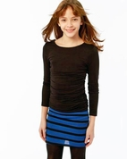 Plum 2pc Back-To-School Tween Striped Pencil  Skirt & Top Outfit  16