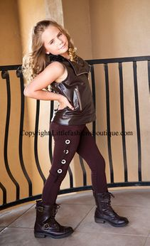 Ragdoll & Rockets Chocolate Brown Concho Pants Tween 7 Last 1
