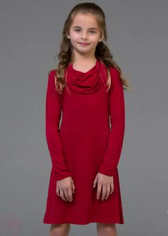 "Ragdoll & Rockets ""Easy"" Mars Red Cowlneck Dress Tween  14"