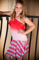 Ragdoll & Rockets Red Dip Dye Bandeau Tween Top & Skort  16