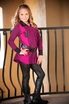 Ragdoll & Rockets Roxy Mixer Magenta & Black Tunic w/belt 7 8 10