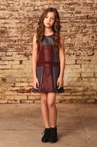 Ragdoll & Rockets Vegan Leather Color Block Tween Dress 10 14 16
