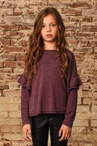 Ragdoll & Rockets Winter Bloom Purple Dropped Ruffles Top 10