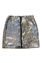 Ragdolls & Rockets Silver Sequined Zipper Front tween Skirt 14 16