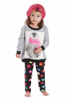 Rock & Clay/ Baby Sara 2pc Toddler Penguin Top & Dot Leggings  4T
