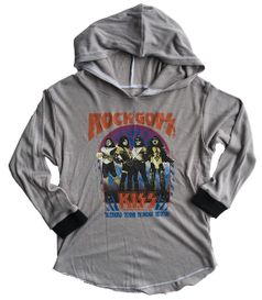 """Rowdy Sprout """"Kiss"""" Grey Hooded Boy's/Girls Concert Tee 10 Last1"""