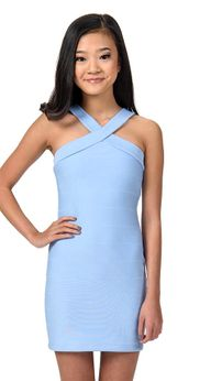 Saly Miller Elegant Sky Blue Tween Girls Alana Dress  XL(14)