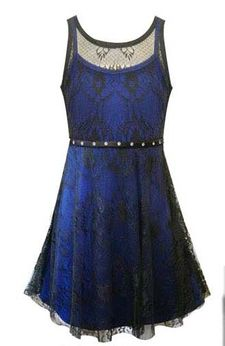 Sara Sara Royal Blue & Black Lace Overlay Tween Party Dress sz 7
