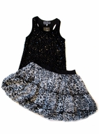 Sara Sara Tween 2pc Sequined Black Top & Skirt Set  sz 14