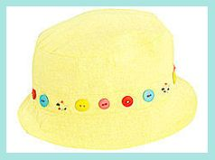 Sarah Louise  Sun Hat w/Colorful Buttons & Beads
