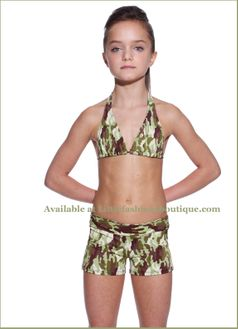 SUBMARINE 2pc Camo Boy- Short Girl's Swimsuit 14