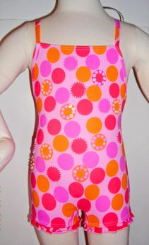 Submarine Baby Girl Pink Ruffle Swimsuit w/Colorful Dots & Sequins 18m