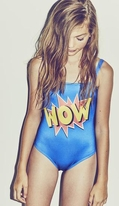 "Submarine 1pc Blue Comic Book ""Wow"" Swimsuit 14 16"