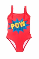 "Submarine 1pc Coral Comic Book 'Pow"" Swimsuit 6 lk 4/5"