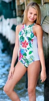 Submarine 1pc Zipper Tropical Floral w.Mesh Sides Swimsuit 8 lk 7/6x