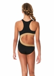 Submarine 1pc Gold & Black Curve Ahead Girls Swimsuit *Top Seller*