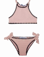 Submarine 2pc Dusty Pink Crochet Trim Tankini Swimsuit 16 like 14