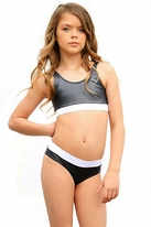 Submarine  2pc Shiny Black Girls Swimsuit 8 14 16 *Top Seller*