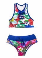 Submarine 2pc Super Cute Floral Girls Tankini Swimsuit 8 12