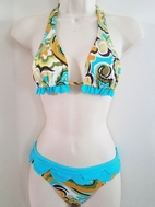 SUBMARINE 2pc Turquoise Yellow Bikini Swimsuit Scallop Trim 12