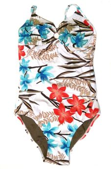 SUBMARINE Beautuful Hawaiian Floral Embr 1pc Swimsuit 12 Last 1