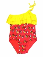 Submarine  1pc Off Shoudler Ruffle Swimsuit sz 12