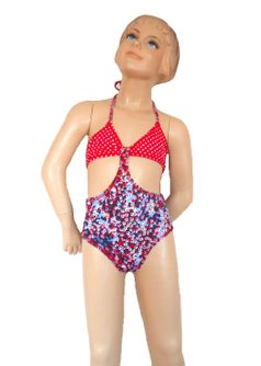 Submarine 1pc Red & Blue Polka Dots/ Flowers Girls Swimsuit 8 10