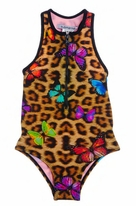 Submarine leopard & Butterflies Racer Back Zipper Swimsuit 12