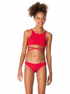 Submarine Elegant  Red 2pc Girls Tankini Swimsuit