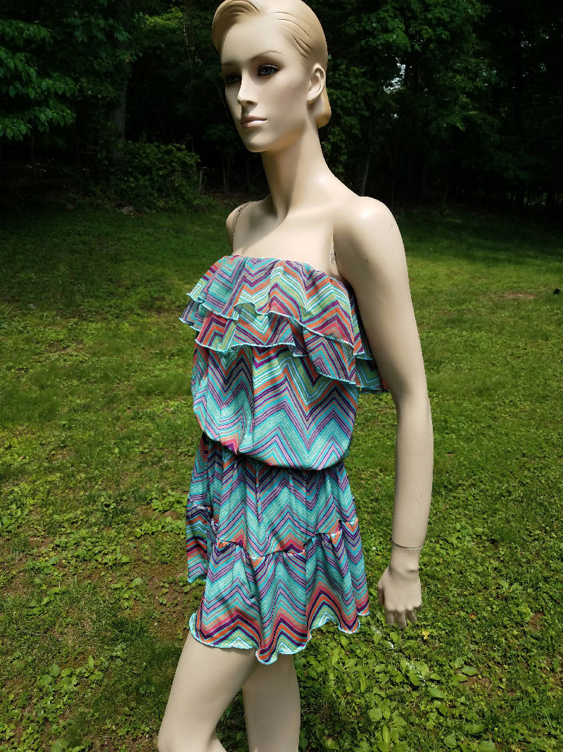 8dbd6cd4c7 Submarine Colorful Chevron Tween Off Shoulder Summer Dress 8 10 16 ...