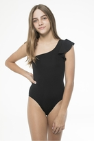 Submarine 1pc Black Elegant Over the Shoulder Girls Swimsuit 12 14